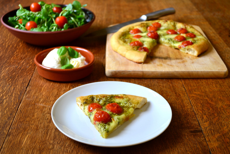 Pesto, Tomato and Mozzarella Pizza - frugalfeeding | Low Budget Family ...