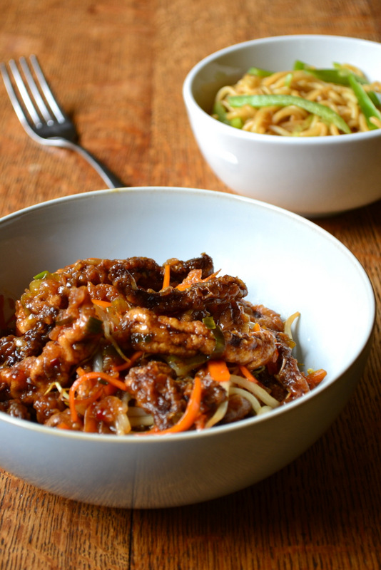 Chinese crispy beef with noodles frugalfeeding low budget family chinese crispy beef with noodles forumfinder Image collections