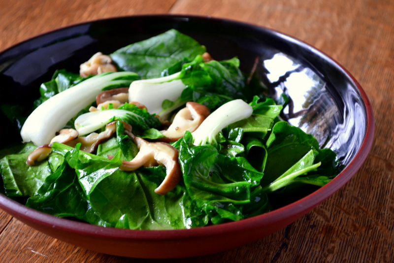 frugal, frugality, thifty, oriental spinach, pak choi, shiitake mushrooms