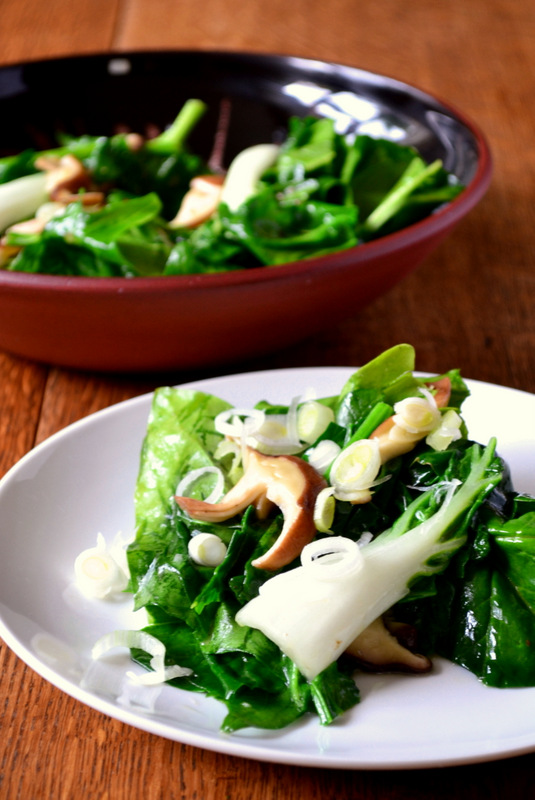 pak choi, oriental spinach, shiitake mushrooms, frugal, frugality, thrifty
