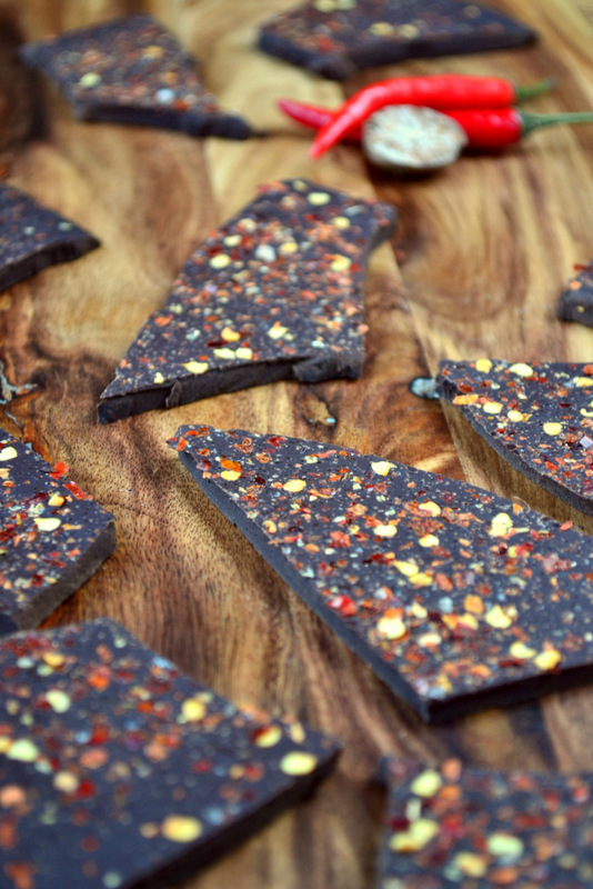 chilli dark chocolate bark